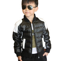 2017 Child leather clothing small kid's casual Down boys jacket black and white cotton-padded thickening boy casual jacket