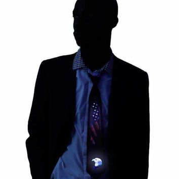 American Flag Light Up LED Tie Sound Activated