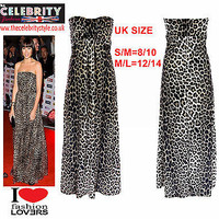 WOMENS LEOPARD PRINT KNOT FRONT BOOB TUBE STRAPLESS LONG LADIES MAXI DRESS 8/14