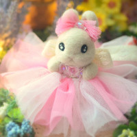Handmade flower rabbit doll, needle felted bunny with tulle dress, Easter bunny with tutu, two color pink dress , kids gift, gift under 40