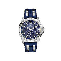 Guess Men's Chronograph Blue Silicone and Stainless Steel Bracelet Wat