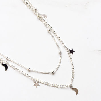 Silver Star and Moon Choker Necklace