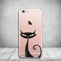 iPhone 6 Case Black Cat Soft Clear iPhone 6s Case Clear iPhone 6 Case iPhone 5s Case iPhone 6s Plus Case Soft Silicone iPhone Case