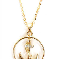 Anchor in Circle Pendant Necklace - My Jewel Candy