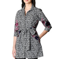Floral embellished graphic print cotton shirtdress