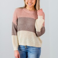 Just This Way Sweater- Mocha/Rose