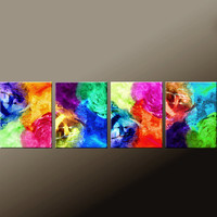 """4PC Abstract Fine Art Print Set  44"""" Rainbow Contemporary Modern Art  by Destiny Womack  - dWo - Expressions"""