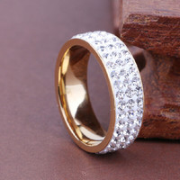 Simple Women Men Stainless Steel Ring Full Filled Zircon Crystal Wedding Band Rings Size 8-12