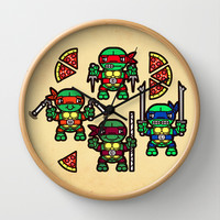 Teenage Mutant Ninja Turtles Pizza Party Wall Clock by chobopop