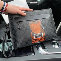 COACH Stylish Men Women Leather Print Handbag Tote Envelope Clutch Bag File Bag