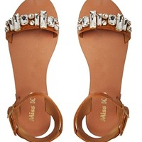 Miss KG Debbie Leather Jeweled Flat Sandals