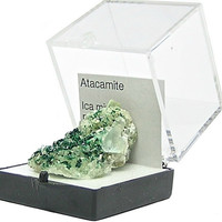 Deep Green Atacamite crystals on rock matrix Thumbnail Specimen, Geology Sample from Peru for a Rockhound's gemstone and  mineral collection