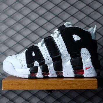 Nike Air More Uptempo Fashion Women Men Casual Sports Basketball Shoes Sneakers White/Black