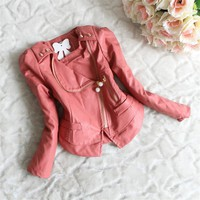 Moon Maiden Zipper Lace Pearls Girls Faux Leather Jacket