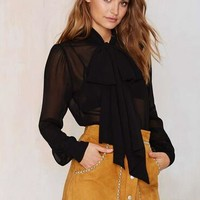 See Through Sheer Long Sleeve Top Big Bow Women Bow Tie Blouse Chiffon Casual Blouses Office Wear Tops Ladies Work 2016 Summer