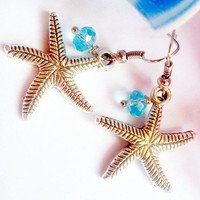 Silver Starfish with blue crystal bead earrings-everyday cheap-affordable earrings