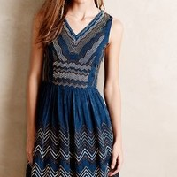 Beaded Chevron Dress by Meadow Rue Turquoise