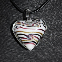 Murano Glass Heart with Swirls (White, Gold, Black, & Brown) Pendant Necklace