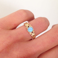 20% off- SALE!!! Opal Ring - Gold Ring - Gemstone Ring - Tiny Simple Jewelry - Delicate Ring - Lace Ring - Opal Jewelry - Round Opal
