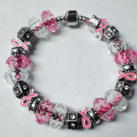 Breast Cancer Support Pink Pleather Pandora style european bead bracelet