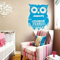 Wall Decals Owl Owly Bird Feathers Pattern Doodle Nature Vinyl Decal Sticker Home Décor Bedroom Nursery Room Living Room Murals S50