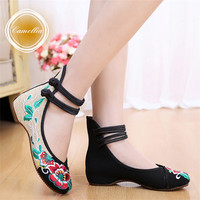 Fashion Women's Shoes Chinese Style Casual Flats Shoes Soft Sole Cozy Retro Embroidery Walking Cloth Shoes Woman Plus Size 41