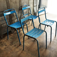 Vintage French Metal Stacking Garden Chairs