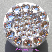 Clear Crystal Diamond Rhinestone BLING Retractable Reel ID Badge Holder made with Swarovski Elements