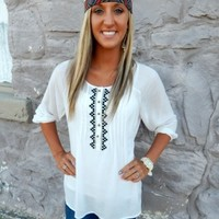 Embroidered Bell Blouse