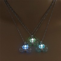 Light In The Dark Night Pumpkin Carriage Necklace 14mm Pendant Necklace Silver Chain Luminous Jewelry Women Gifts