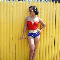 SALE// Wonder Woman bathing suit swimsuit or costume xs-XL made to order