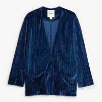 Velvet texture blazer - faded ink blue - Coats & Jackets - Monki GB