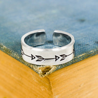 Arrow Ring - Affirmations - Travel - Adventure - Adjustable Aluminum Cuff Ring