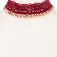 DETACHABLE CHAIN AND FLORAL LACE DETAILED CHOKER NECKLACE