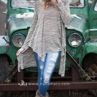 On The Edge Feathered Oversized Knit Top (Olive)