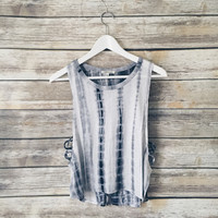 Kylee Tie Dye Muscle Tank (Grey/Black)