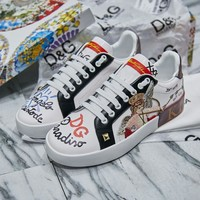 Dolce & Gabbana D&G Casual Shoes Leather Leisure Comfortable Sneaker DG shoes boots white