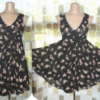 Vintage 90s Empire Waist Full Sweep Babydoll Mini Dress Contempo Casuals Sz 3 S/ XS Grunge Floral