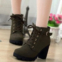 New Women Green Round Toe Chunky Zipper Casual Ankle Boots