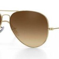 RAY BAN 3025 58 AVIATOR SATIN GOLD GOLD REMIX BROWN GRADIENT CUSTOMIZED