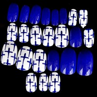 Diamond Blue Press On Nails Crossing Design White Round Acrylic Designed Nail Tips Shiny 24pcs/ kit Z901