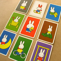 9 Miffy prints, Dick Bruna playing cards, great for framing, journaling, scrapbooking