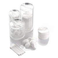 Z&Q Top Quality Acrylic Canister Box (3) Cylinders, 3pc Spa Canister Set, including Cotton Pad Dispenser, Cotton Ball and Swab Holder / Organizer, Apothecary Jar
