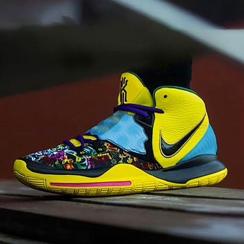 Nike Kyrie 6 Irving 6 Basketball Shoes  Yellow Blue Sneakers Eye Embossing