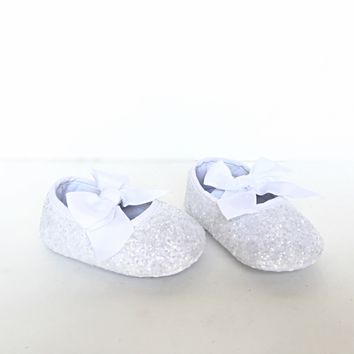 White Glitter Baby Shoes, Flower Girl Shoes