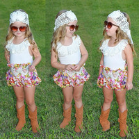 Girls Summer party T Shirt + Broken Flower Skirt Sleeveless
