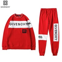 GIVENCHY Top Sweater Sweatshirt Pants Trousers Sweatpants Set Two-Piece Sportswear Red