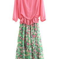 ROMWE Floral Print Color Block Pleated Rose Dress
