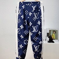 LV Fashion New Monogram Print Women Men Pants Blue