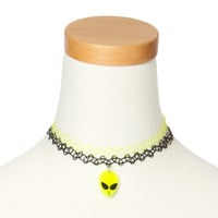 Neon Green and Black Tattoo Necklaces with Alien Pendant Set of 2